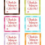 "Thank You For Helping Me Grow"" Free Printable Tags   Leah With Love   Free Printable Tags For Teacher Appreciation"