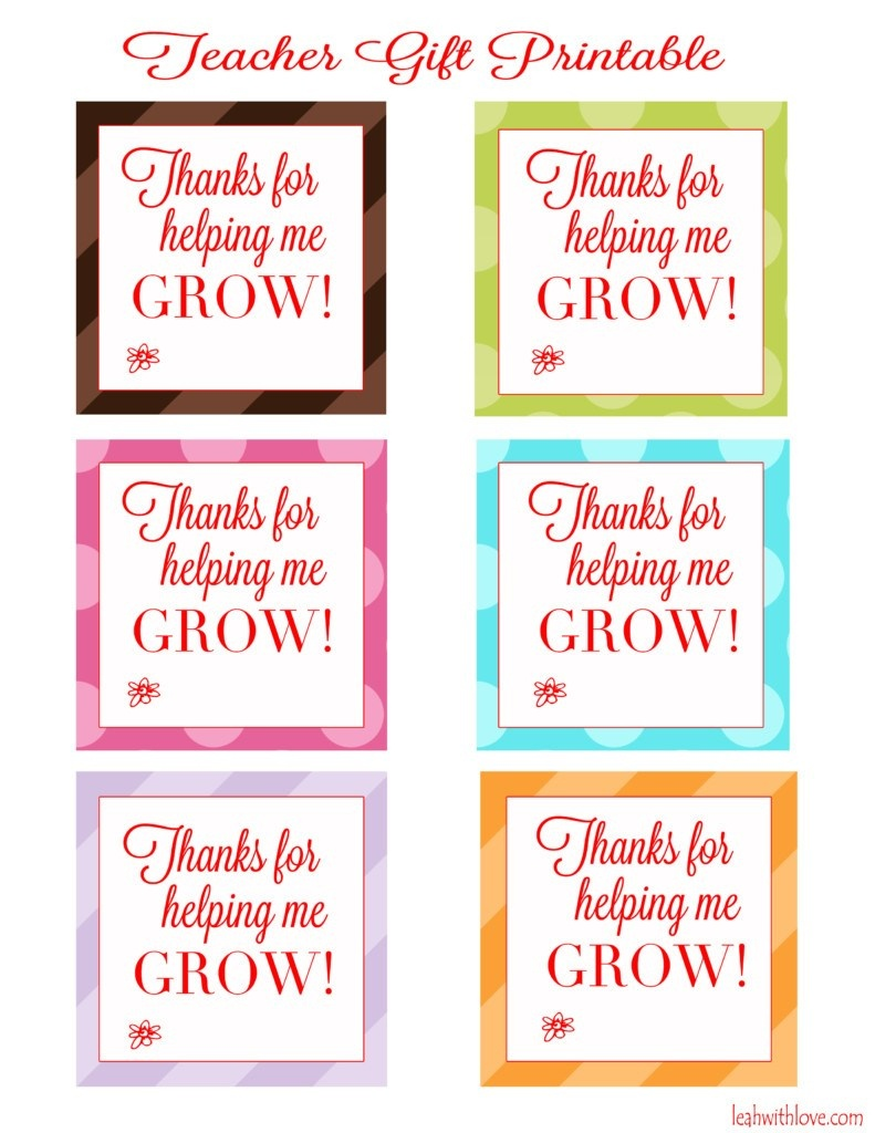 """Thank You For Helping Me Grow"""" Free Printable Tags - Leah With Love - Free Printable Tags For Teacher Appreciation"""