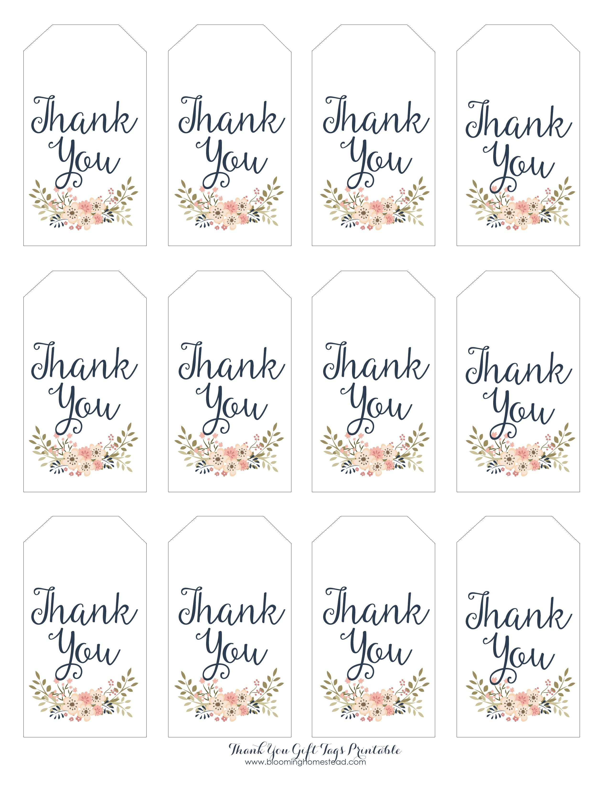 Thank You Gift Tags | Gift Ideas | Thank You Tag Printable, Wedding - Free Printable Wedding Thank You Tags