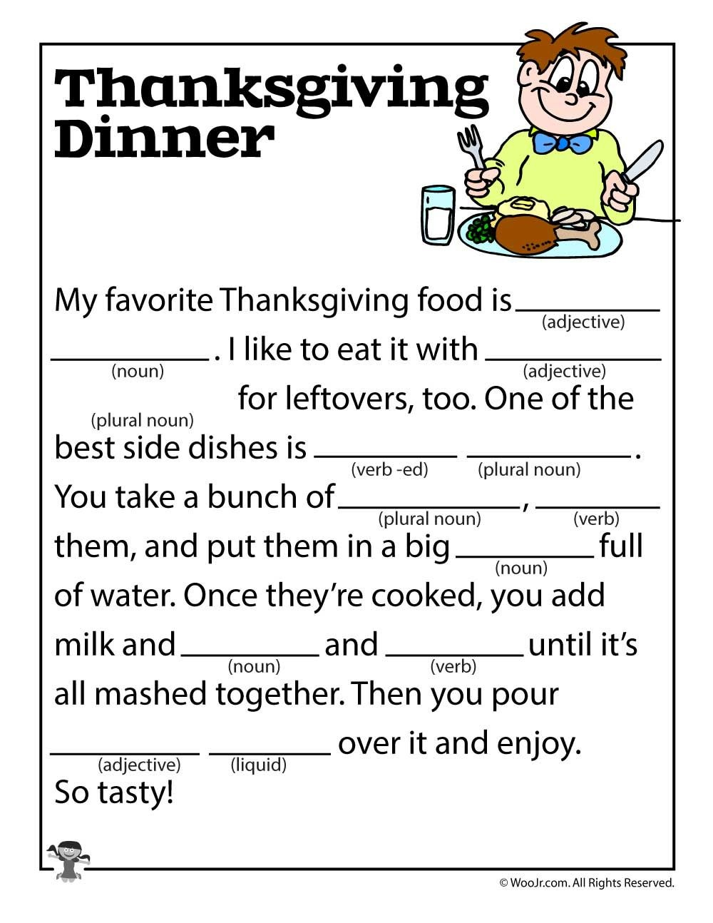 Thanksgiving Dinner Mad Lib | Esl | Mad Libs For Adults - Free Printable Thanksgiving Mad Libs