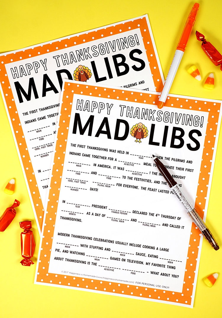Thanksgiving Mad Libs Printable Game - Happiness Is Homemade - Free Printable Thanksgiving Games For Adults