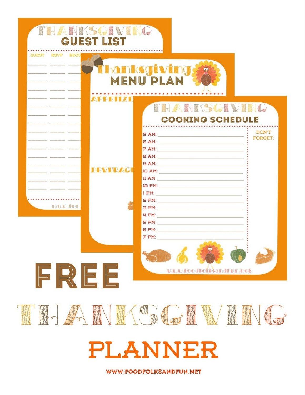 Thanksgiving Planner - 5 Free Printables! • Food, Folks And Fun - Free Printable For Thanksgiving