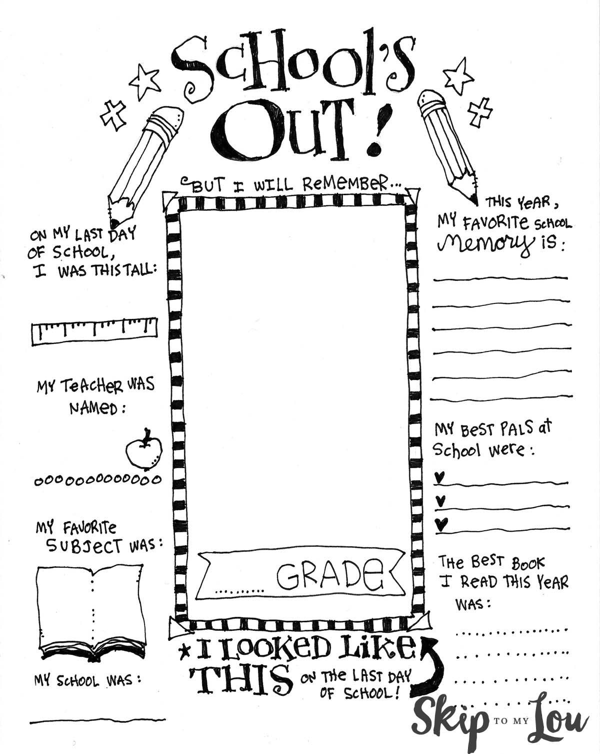 The Coolest Free Printable End Of School Coloring Page | Bloggers - Free Printable Preschool Memory Book