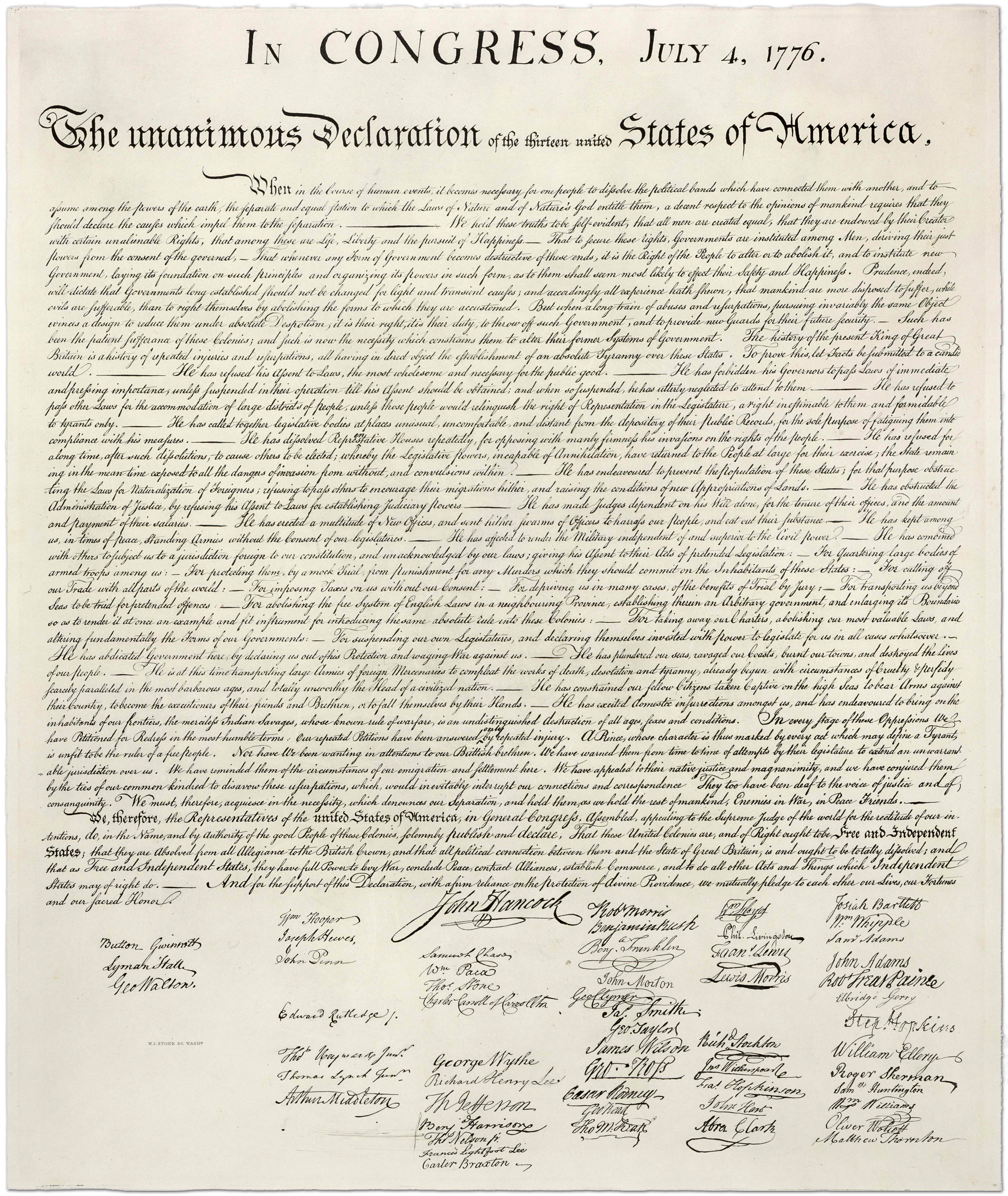 The Declaration Of Independence Complete Full Text High-Resolution - Free Printable Copy Of The Declaration Of Independence