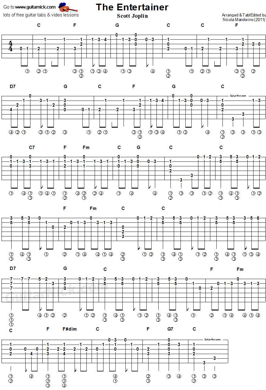 The Entertainer Flatpicking Guitar Tab: Guitarnick - Free Printable Sheet Music For The Entertainer