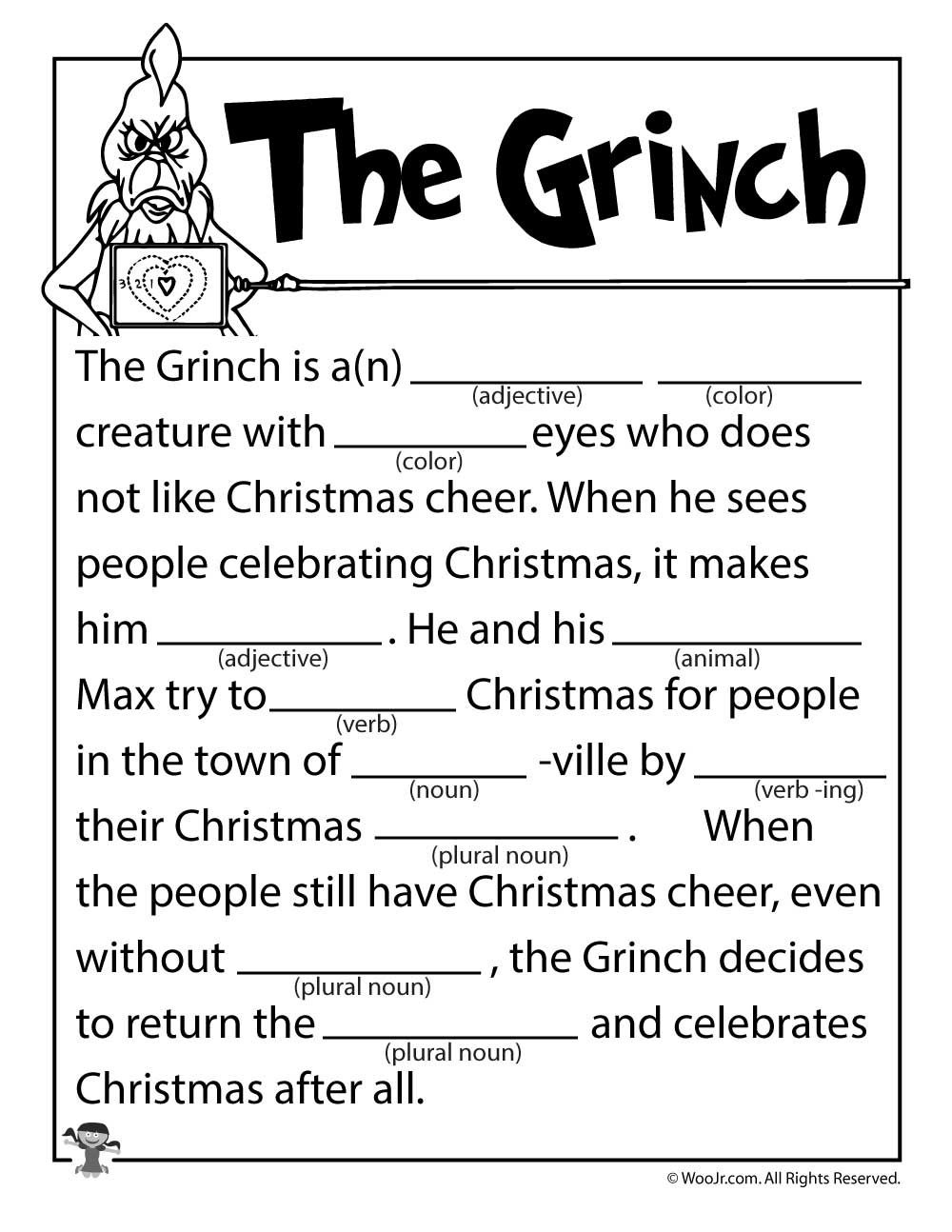 The Grinch Mad Lib | Holiday (C/g&a): Christmas Games/activities - Christmas Mad Libs Printable Free