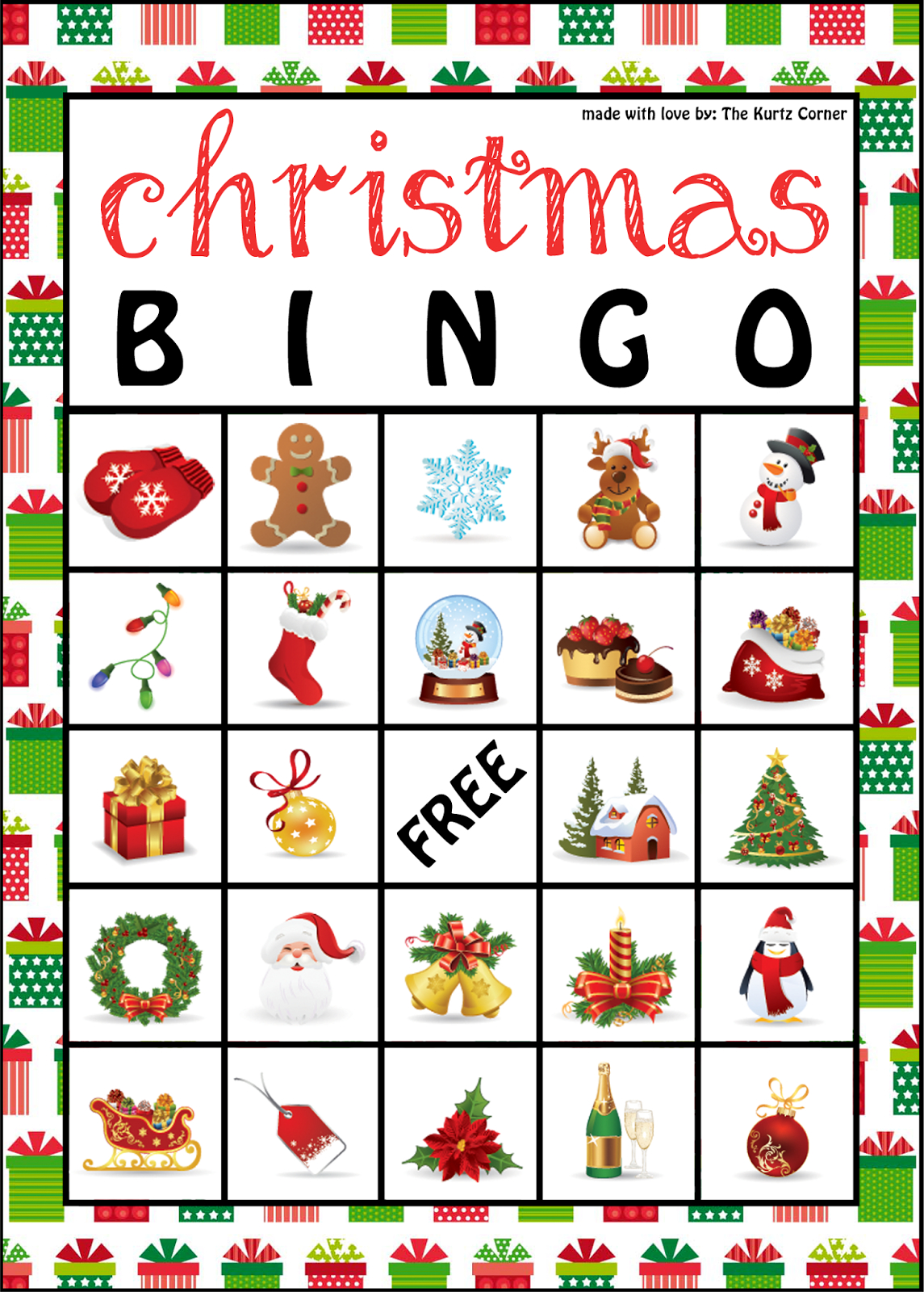 The Kurtz Corner: Free Printable Christmas Bingo Cards | Winter / X - Free Printable Christmas Bingo Cards