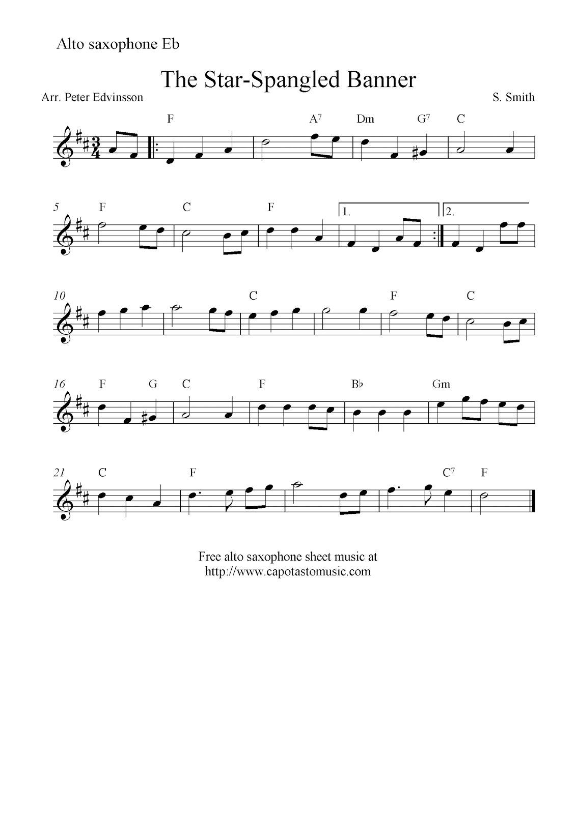 The Star-Spangled Banner, Free Alto Saxophone Sheet Music Notes - Free Printable Piano Sheet Music For The Star Spangled Banner