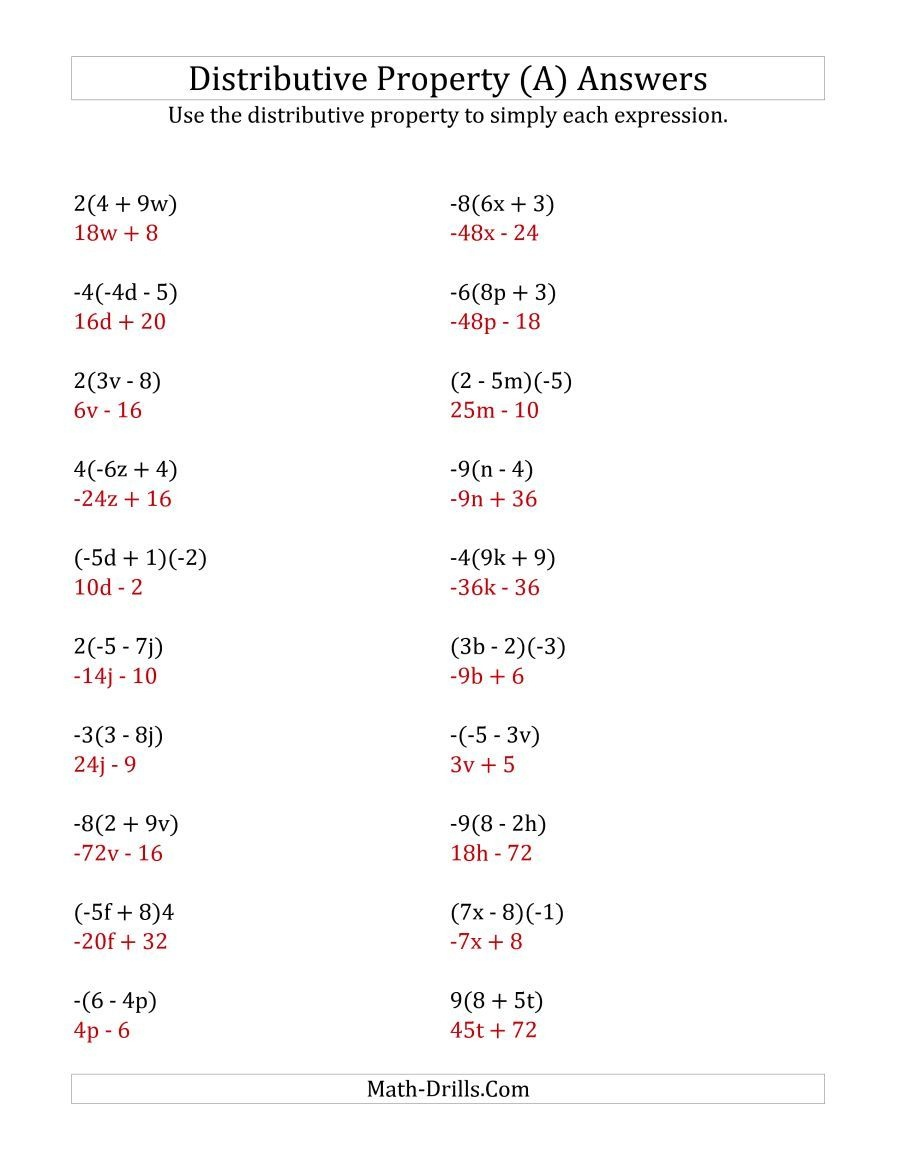 The Using The Distributive Property (Answers Do Not Include - Free Printable Distributive Property Worksheets