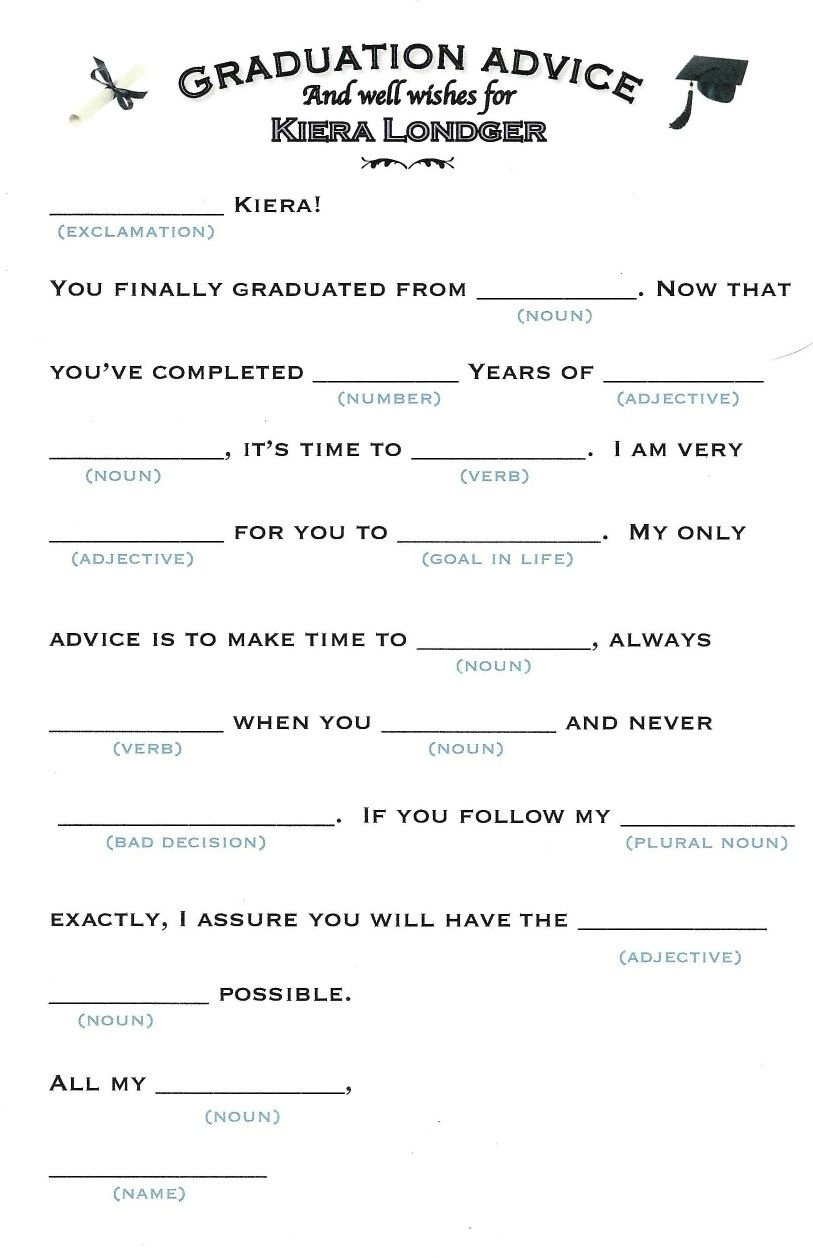 These Mad Libs Are Perfect For Any Graduation Party. | Gradation Mad - Free Printable Graduation Party Games