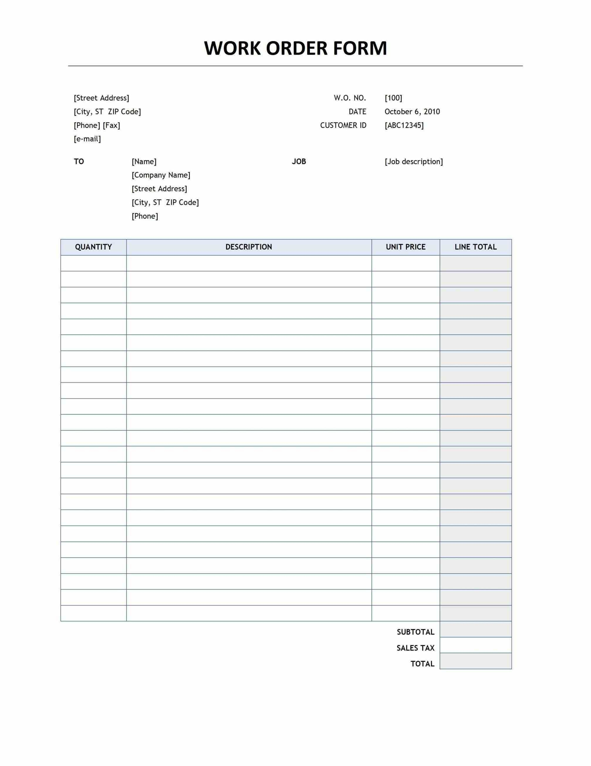 This Initiates The Responsibility Of Providing Details Such As - Free Printable Work Order Template