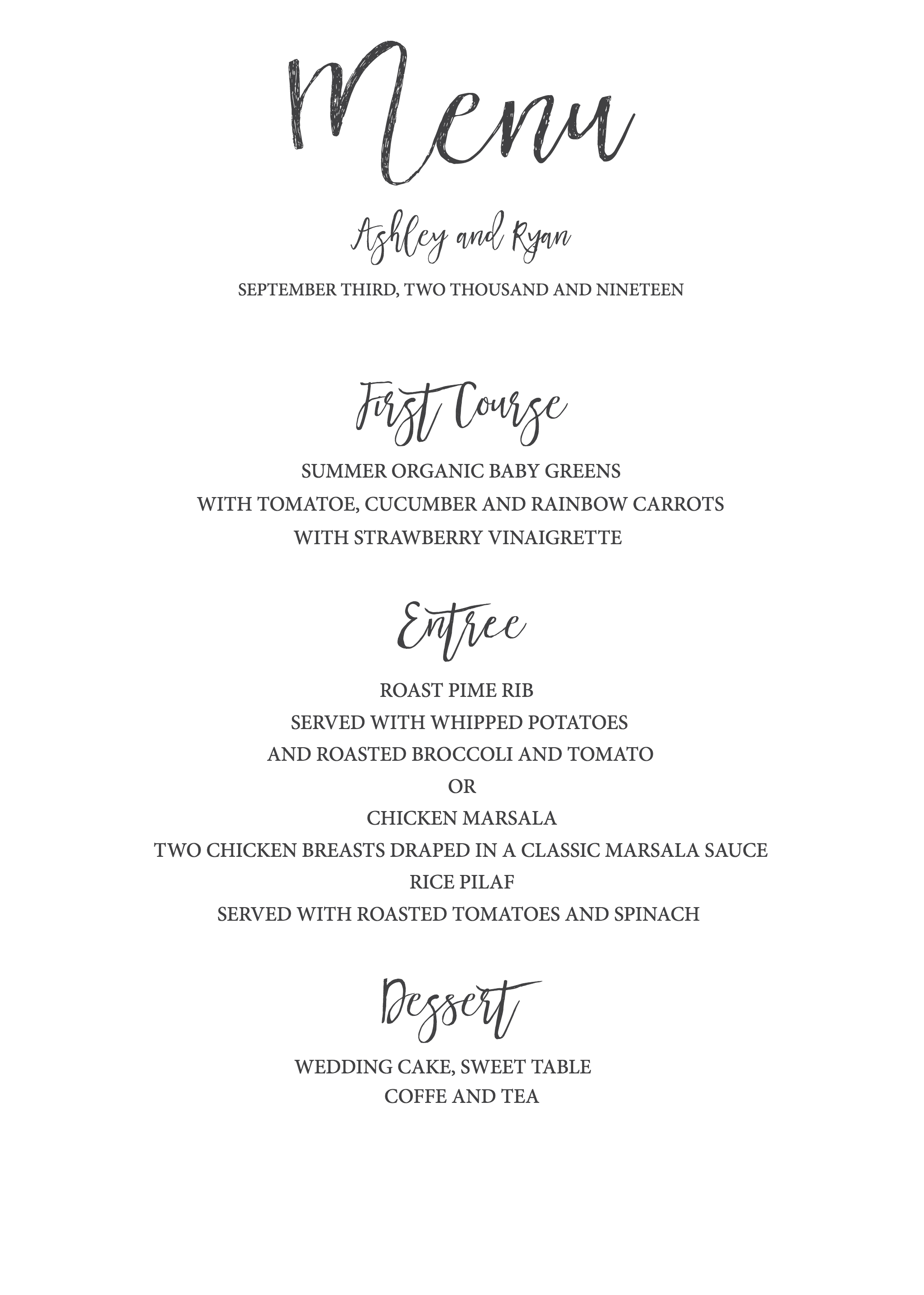 Timeless And Simple Wedding Invitation | Freebies & Free Printables - Free Printable Wedding Menu Card Templates