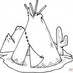Tipi (Teepee) And Cactus Coloring Page | Free Printable Coloring Pages   Free Printable Teepee