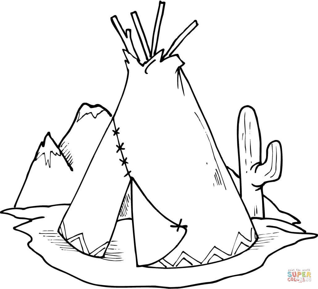 Tipi (Teepee) And Cactus Coloring Page | Free Printable Coloring Pages - Free Printable Teepee
