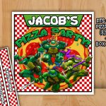 Tmnt Pizza Box Label Personalized Printable Teenage Mutant | Etsy   Free Printable Tmnt Food Labels