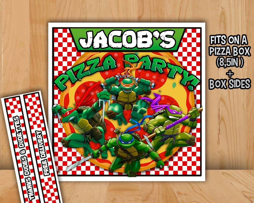 Tmnt Pizza Box Label Personalized Printable Teenage Mutant | Etsy - Free Printable Tmnt Food Labels