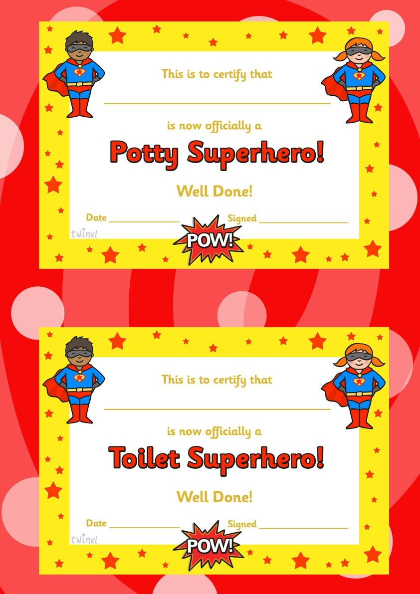 Toilet And Potty Superhero Certificate -Twinkl | Early Years - Free Printable Superhero Certificates