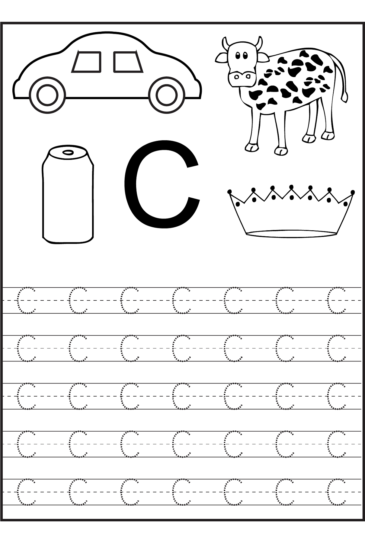Trace The Letter C Worksheets   Alphabet And Numbers Learning - Free Printable Preschool Worksheets Letter C