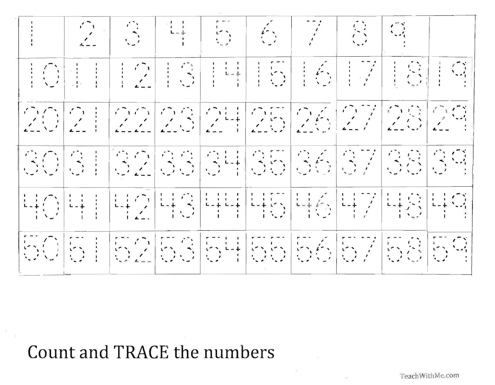 Trace The Number 1-59 Worksheet   Homeschool   Numbers 1 100 - Free Printable Tracing Numbers 1 50