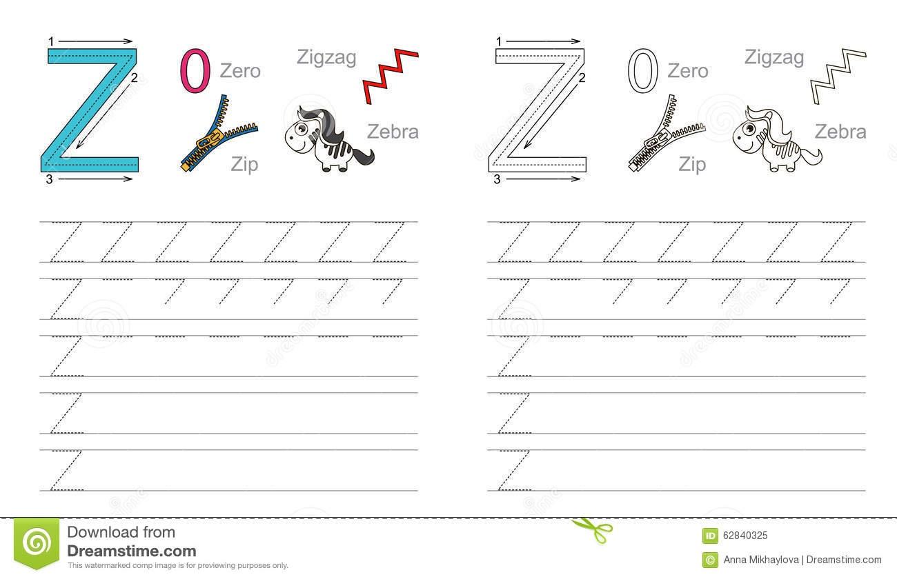 Tracing Worksheet For Letter Z Stock Vector - Illustration Of Recipe - Letter Z Worksheets Free Printable