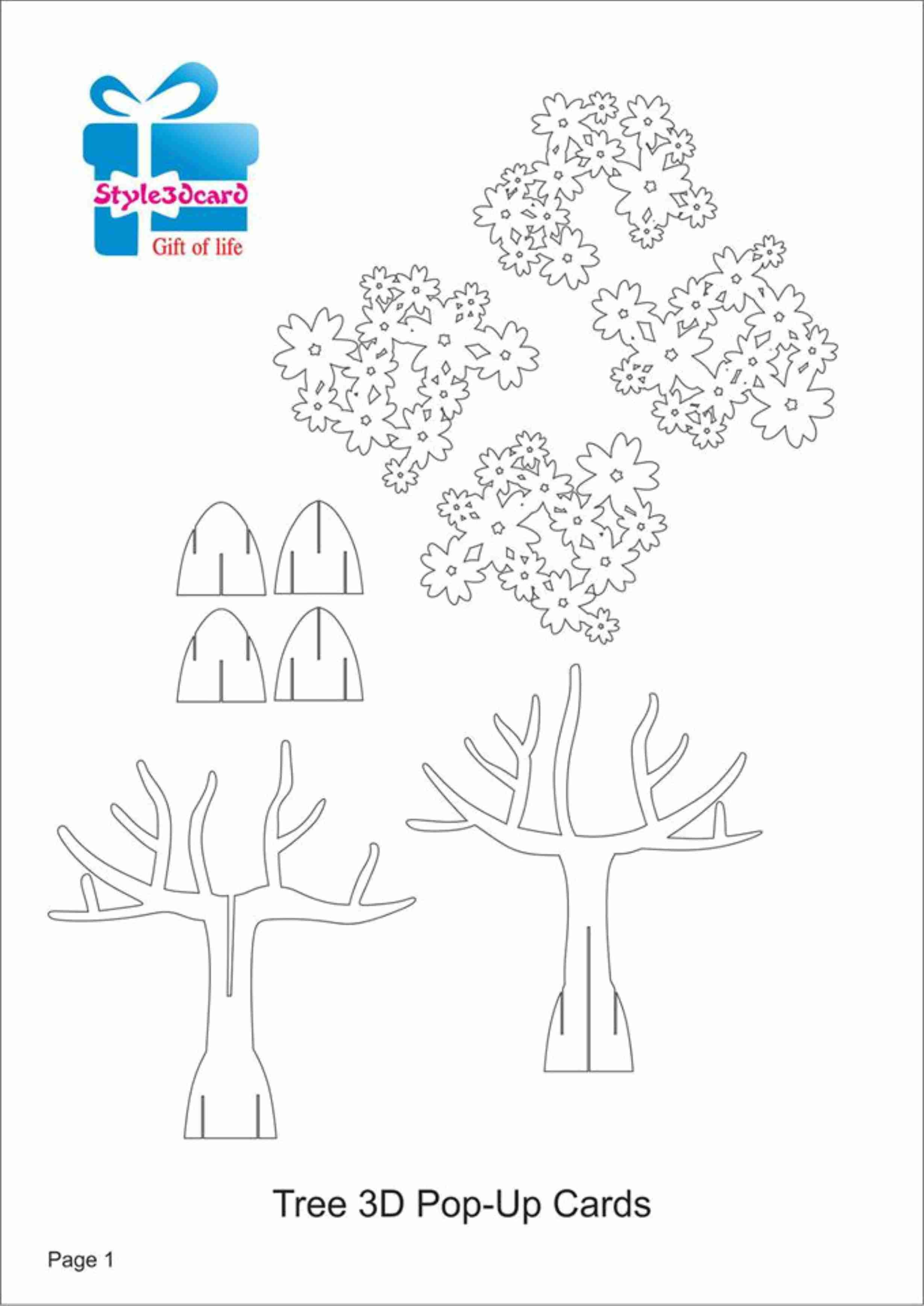Tree 3D Pop Up Card/ Kirigami Pattern 1 | Kirigami Art | Pop Up Card - Free Printable Kirigami Pop Up Card Patterns