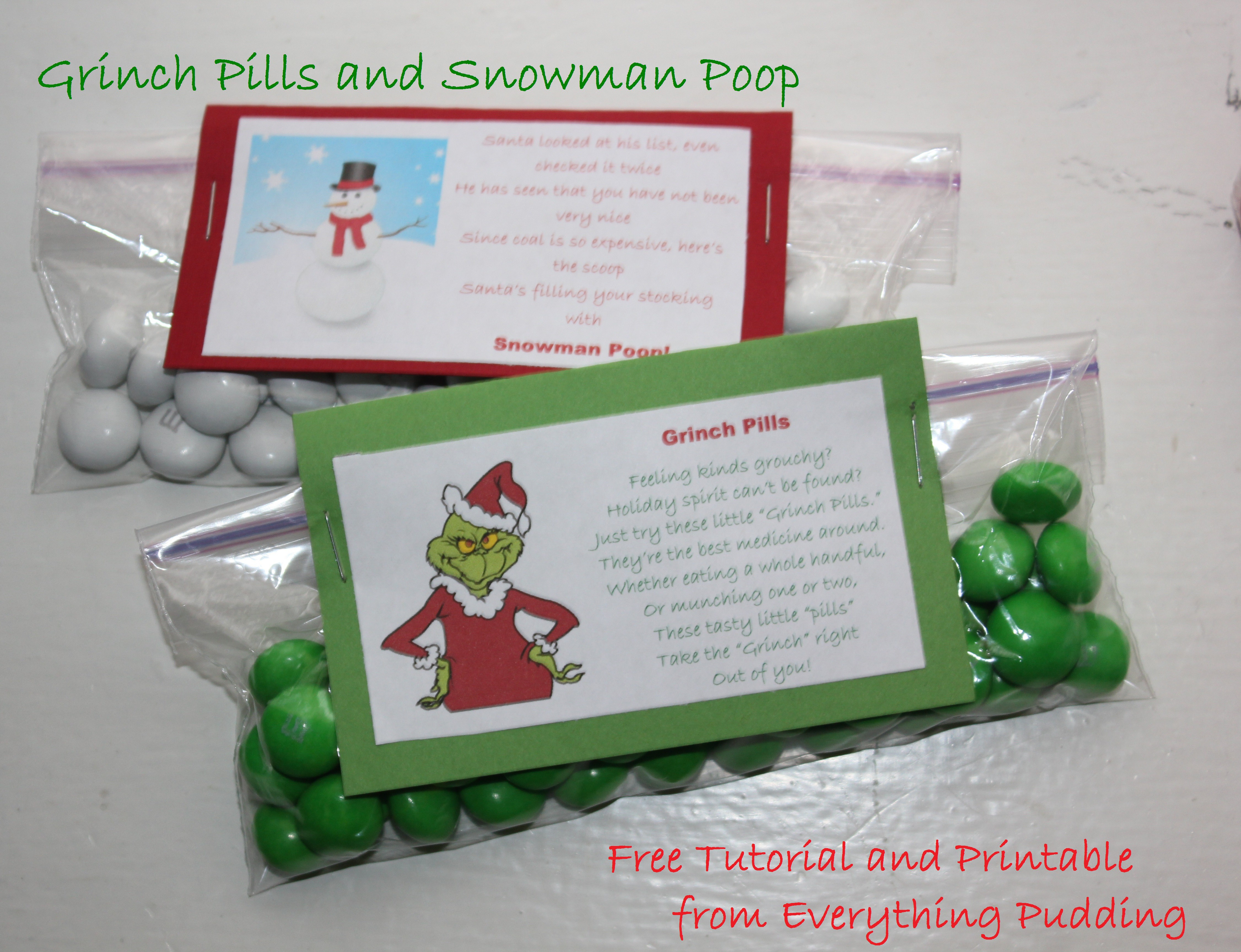 Tutorial-Grinch Pills And Snowman Poop (Christmas Wrap-Up #1 - Grinch Pills Free Printable