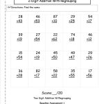 Two Digit Addition With Regrouping Assessment   Love To Learn   Free Printable Double Digit Addition And Subtraction Worksheets