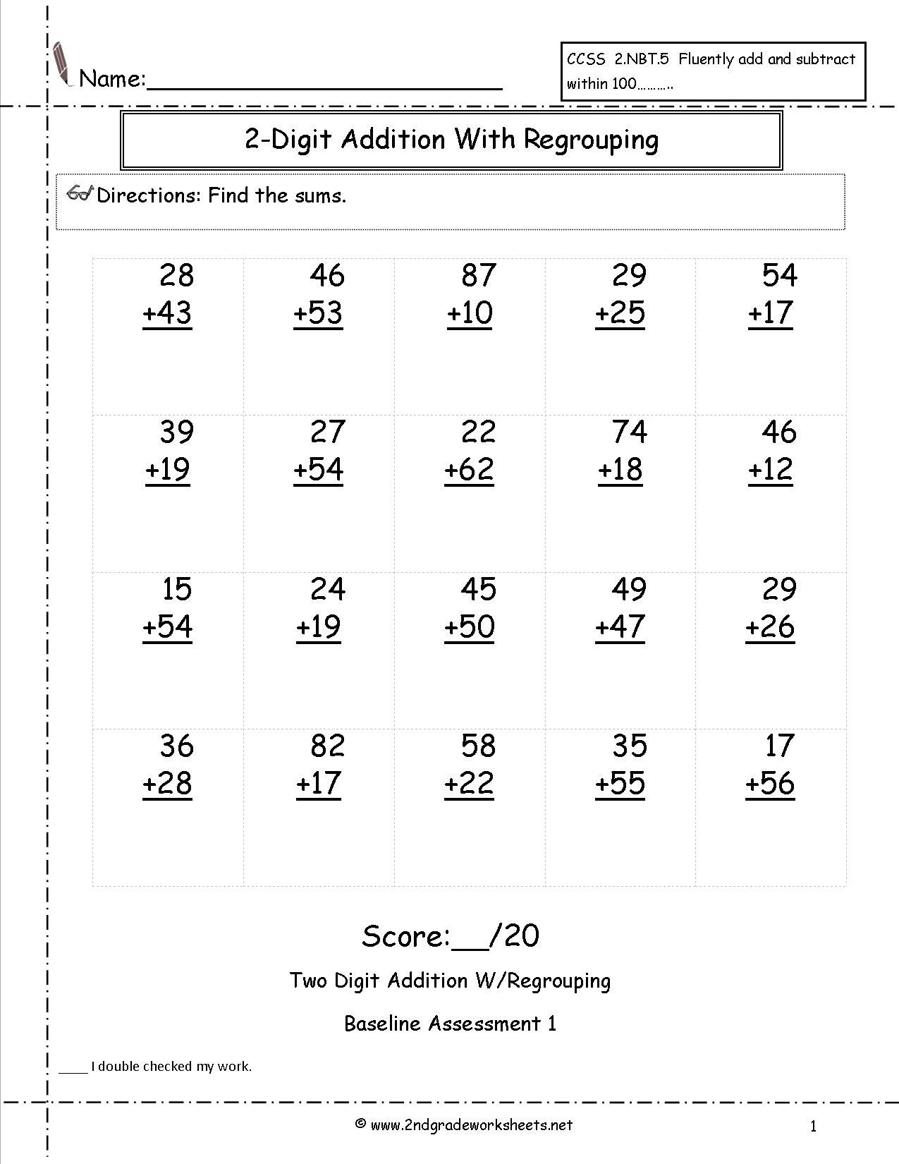 Two Digit Addition With Regrouping Assessment | Love To Learn - Free Printable Double Digit Addition And Subtraction Worksheets