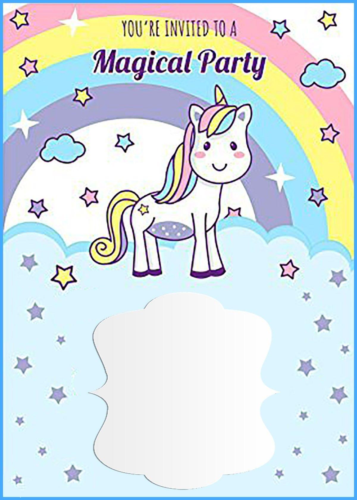 Unicorn Free Printable First Birthday Invitation Template - Free Printable Unicorn Invitations