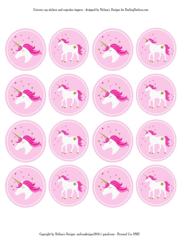 Unicorn Stickers & Cupcake Toppers | Party: Unicorn | Unicorn - Free Printable Unicorn Cupcake Toppers