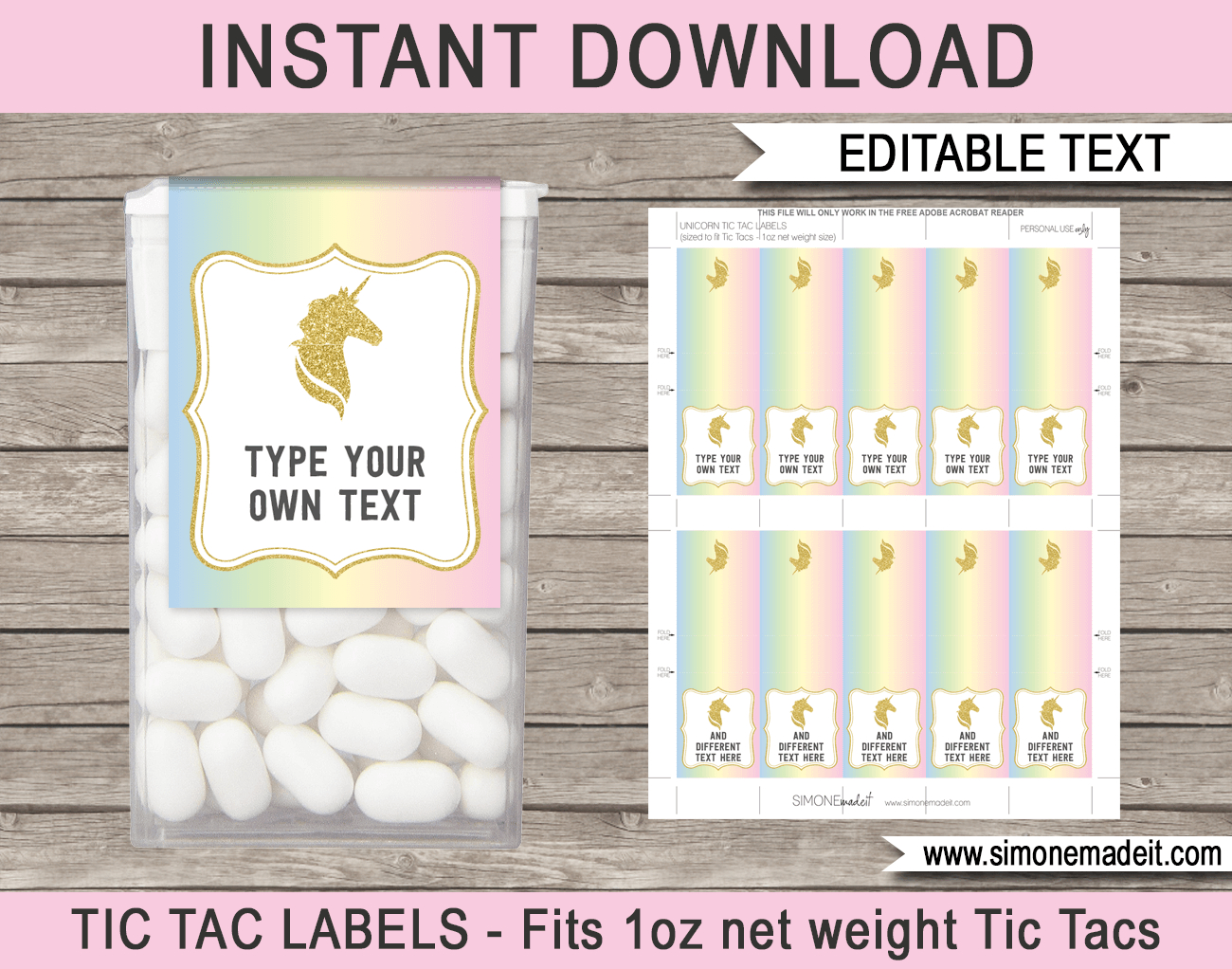 Unicorn Tic Tac Labels | Unicorn | Unicorn Party, Unicorn Birthday - Free Printable Tic Tac Labels