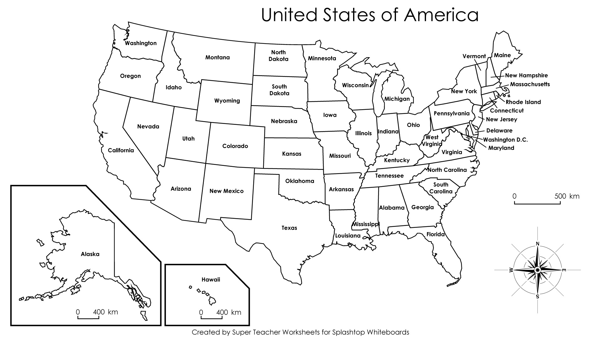 United States Map Outline Labeled Blank Map Worksheets Worksheets - Free Printable Labeled Map Of The United States