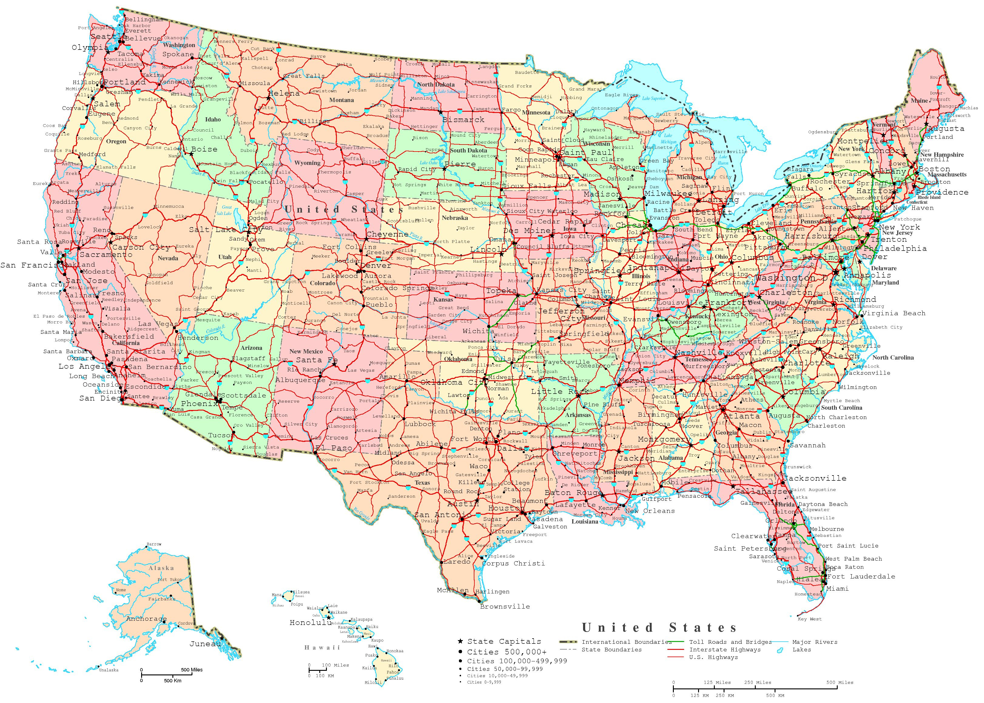 United States Printable Map - Free Printable Labeled Map Of The United States