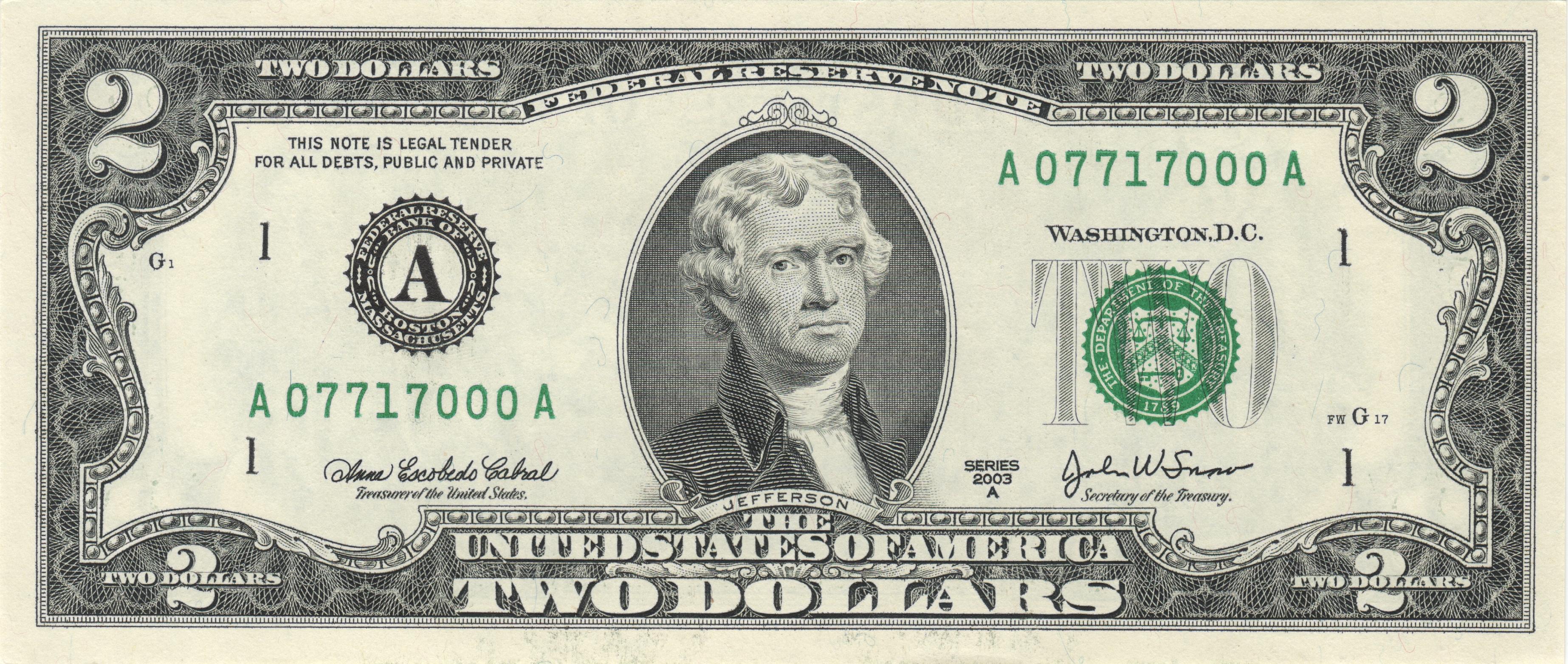 United States Two-Dollar Bill - Wikipedia - Free Printable Play Dollar Bills