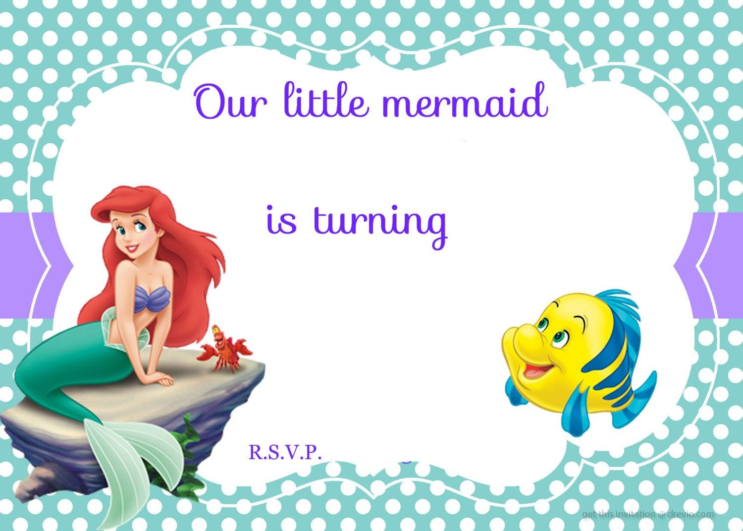 Updated! Free Printable Ariel The Little Mermaid Invitation Template - Free Printable Little Mermaid Birthday Banner