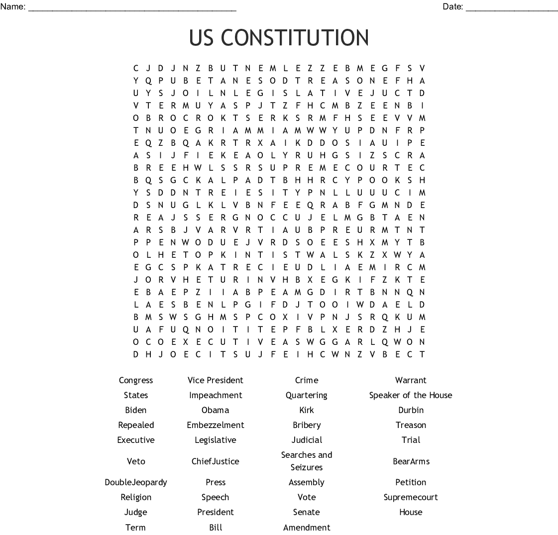 Us Constitution Word Search - Wordmint - Free Printable Us Constitution Worksheets