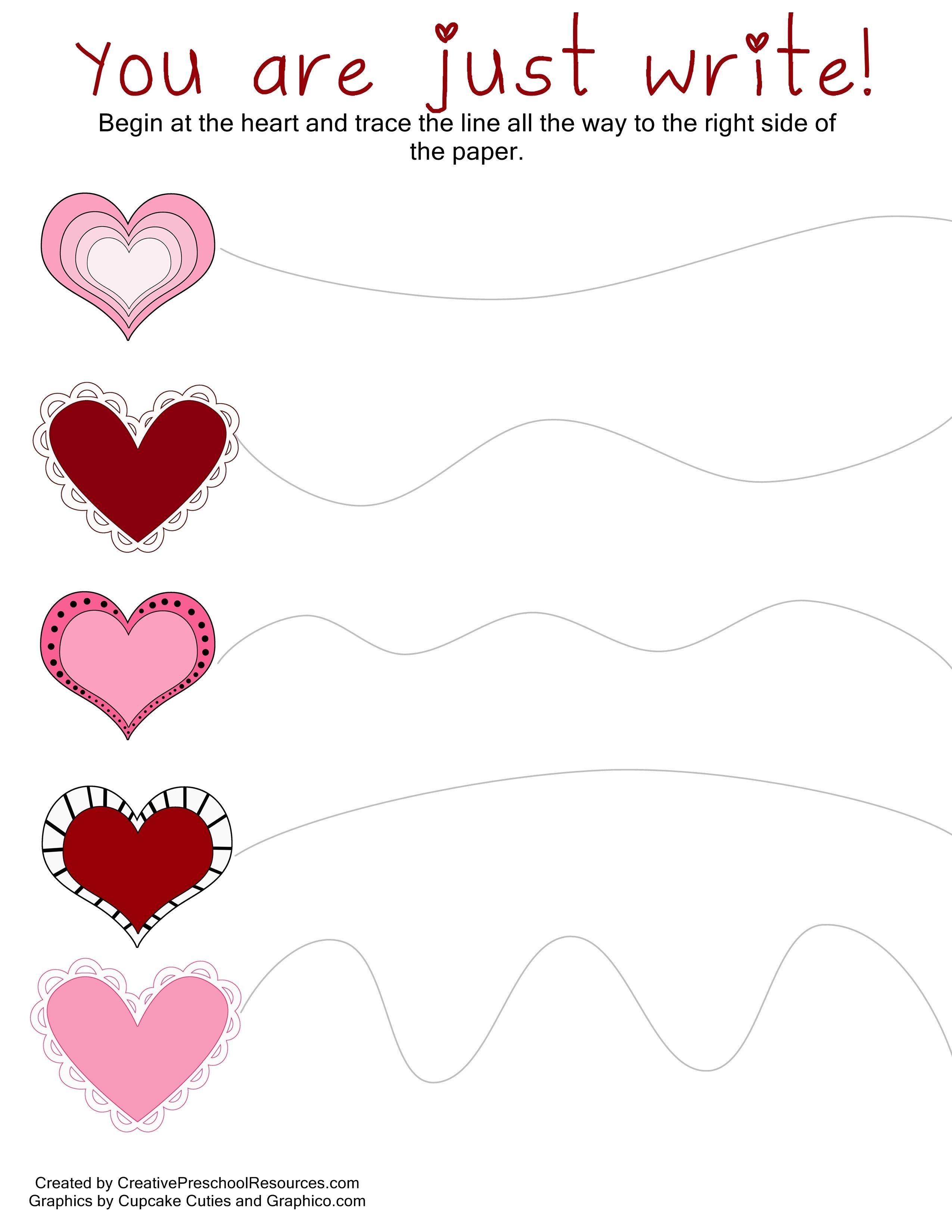 Valentine Trace & Cut Printables | Diy Kiddie Projects | Preschool - Free Printable Preschool Valentine Worksheets