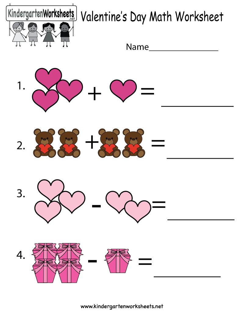 Valentine's Day Math Worksheet - Free Kindergarten Holiday Worksheet - Free Printable Valentine Math Worksheets