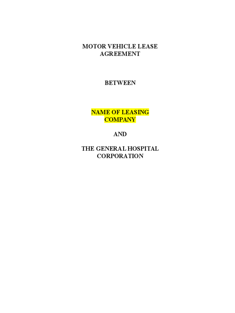 Vehicle Lease Agreement Template Free Download - Free Printable Vehicle Lease Agreement