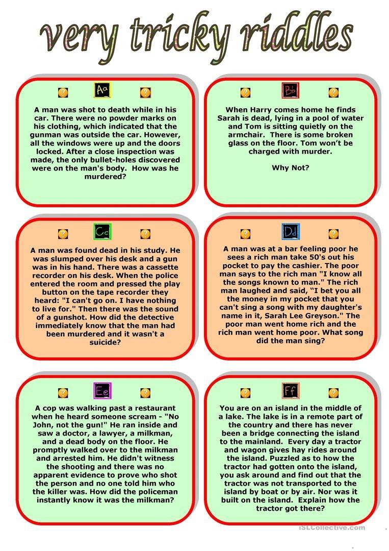 Very Tricky Riddles Worksheet - Free Esl Printable Worksheets Made - Free Printable Riddles