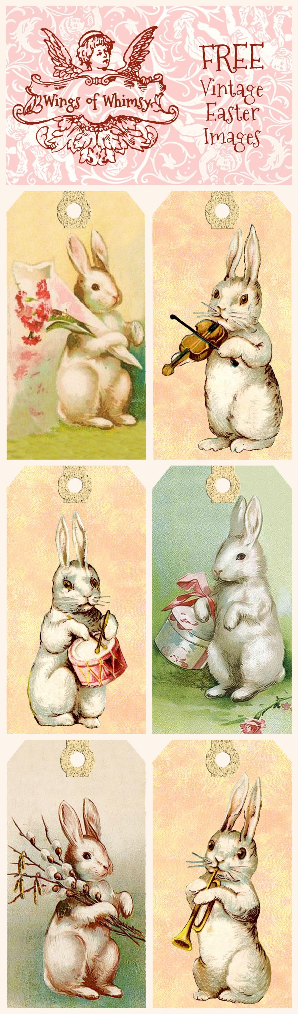 Vintage Easter Bunny Tags – Free Printables | Easter | Easter Crafts - Free Printable Vintage Easter Images