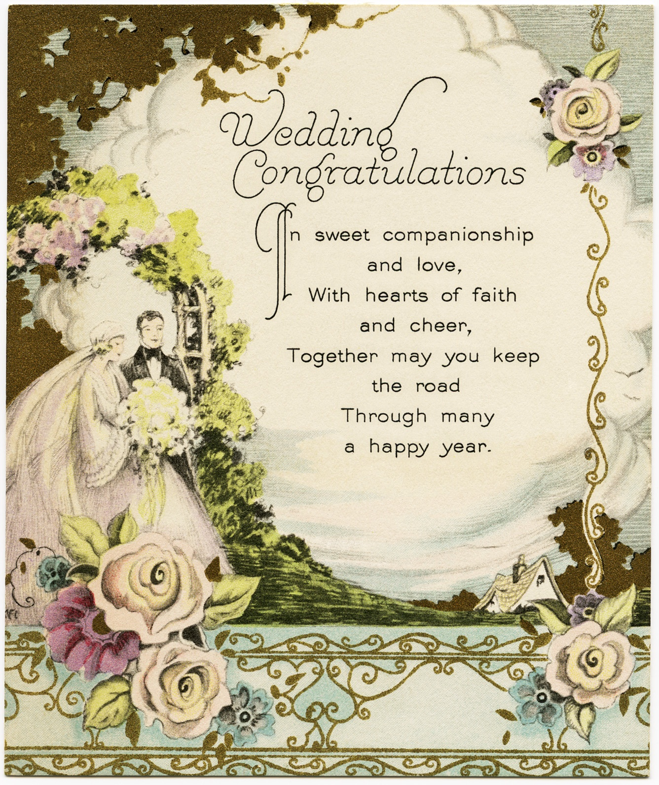 Vintage Wedding Congratulations - Old Design Shop Blog - Wedding Wish Cards Printable Free
