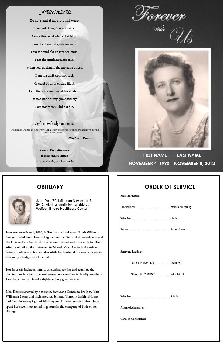 Virgin Mary Memorial Program | Funeral | Memorial Service Program - Free Printable Funeral Program Template