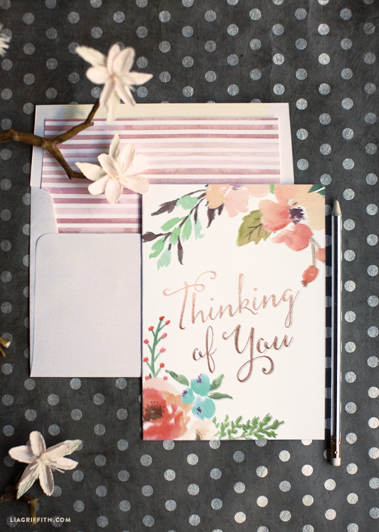 Watercolor Flower Thinking Of You Card - Lia Griffith - Free Printable Thinking Of You Cards