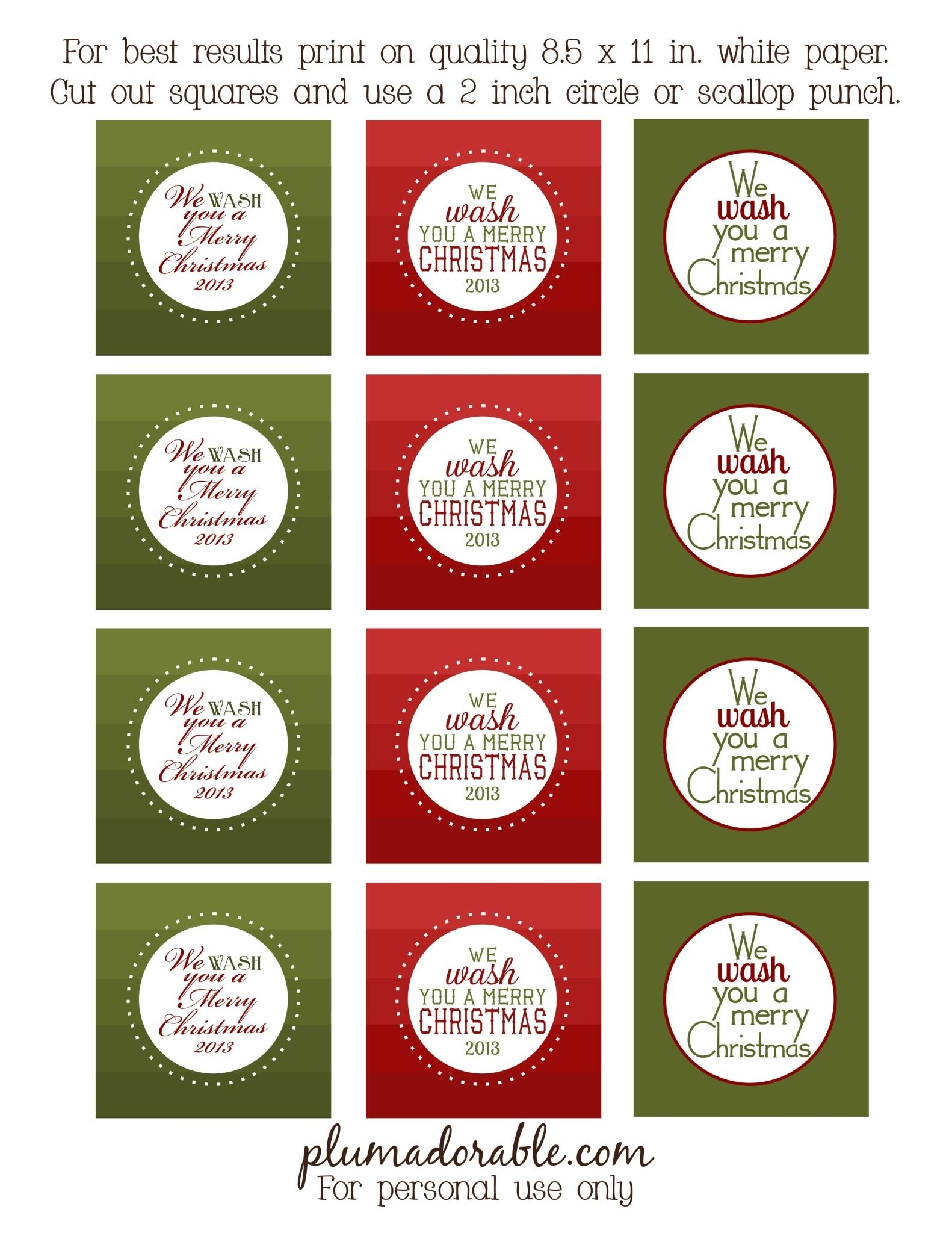 We Wash You A Merry Christmas - Free Printable Tags | Christmas - Free Printable Tags