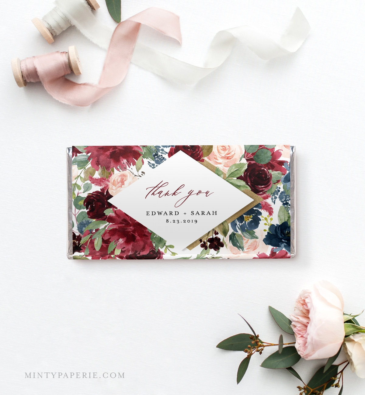 Wedding Chocolate Bar Wrapper Template, Printable Bridal Shower - Free Printable Candy Bar Wrappers For Bridal Shower