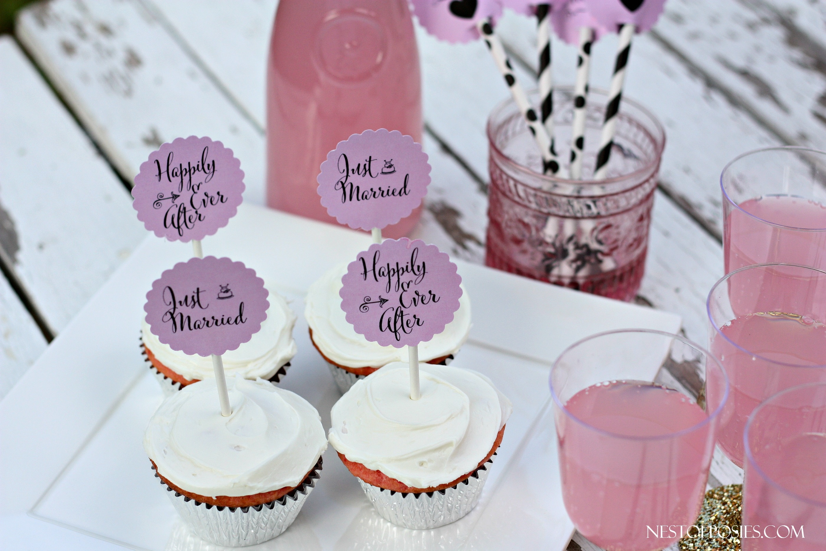 Wedding Or Bridal Shower Cupcake Toppers - Free Printable Cupcake Toppers Bridal Shower