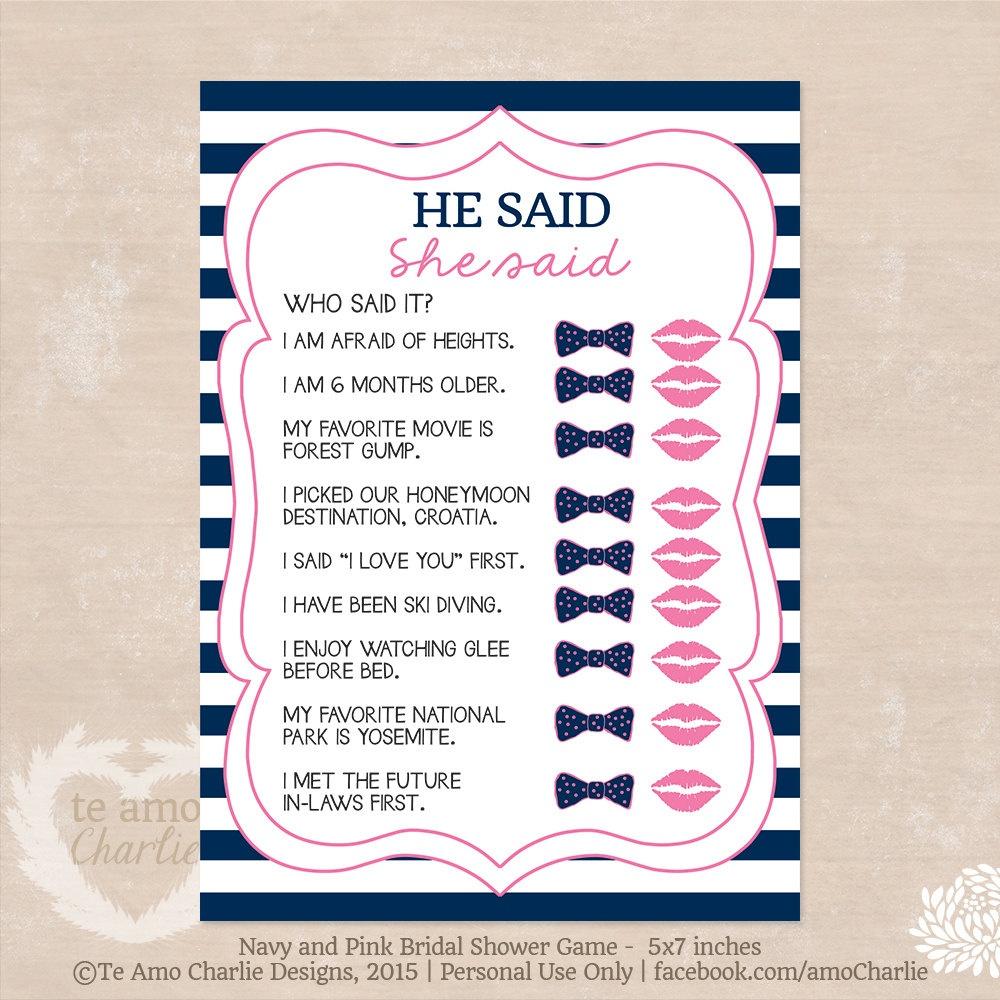 Wedding Shower Printable He Said She Said Game Bridal Shower | Etsy - He Said She Said Game Free Printable