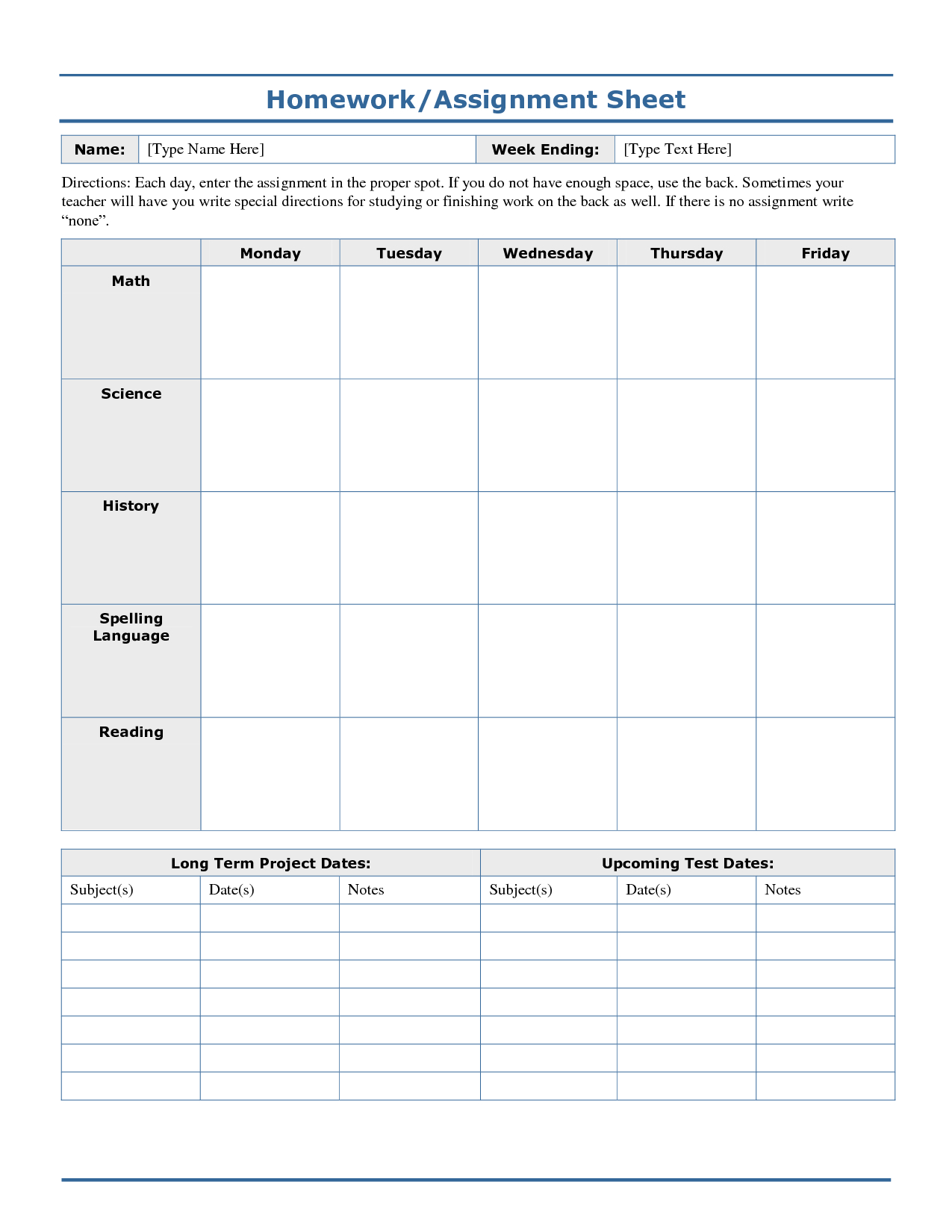 Weekly+Homework+Assignment+Sheet+Template | Logs | Homework Sheet - Free Printable Homework Assignment Sheets