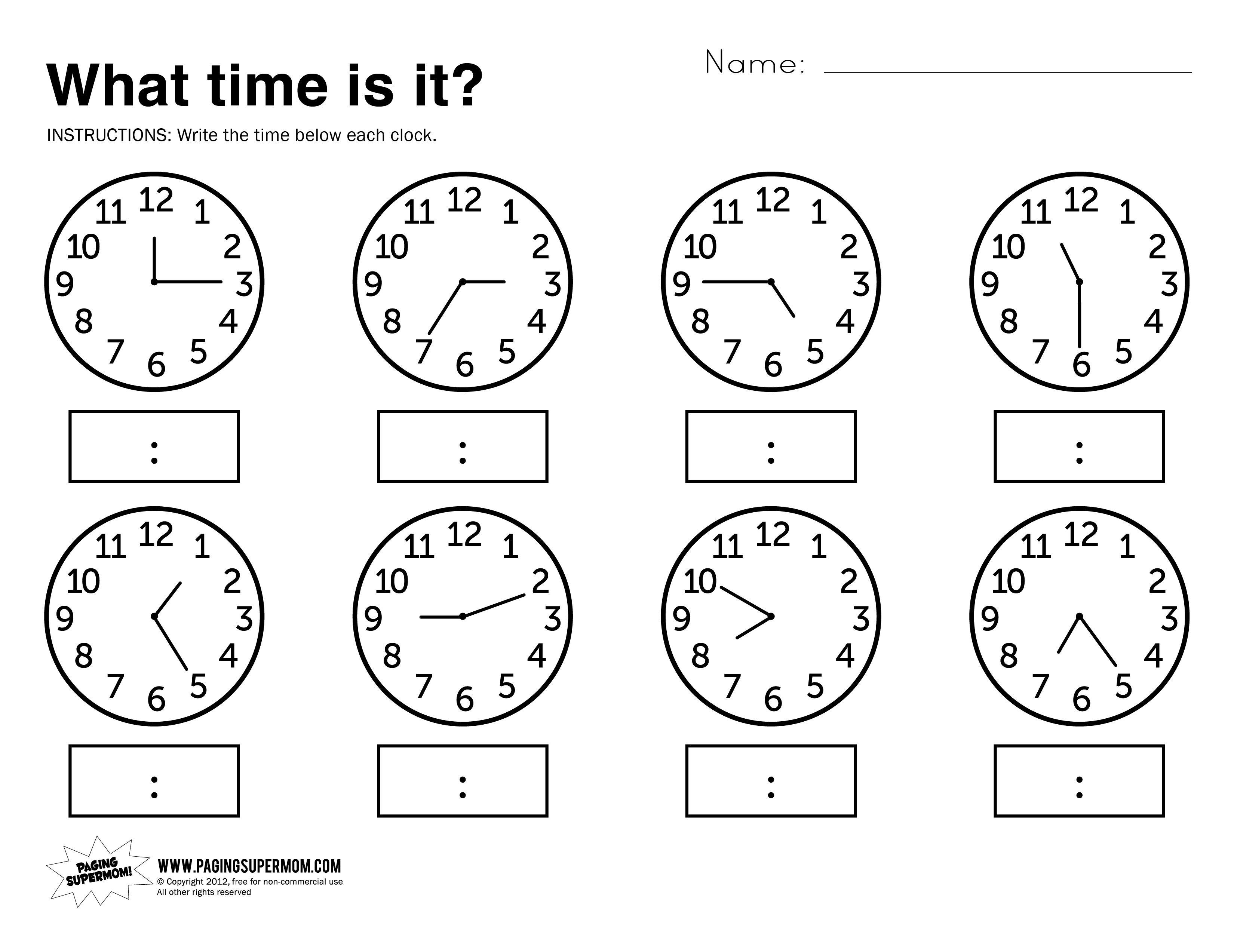 What Time Is It Printable Worksheet | Kolbie | Kindergarten - Free Printable Telling Time Worksheets